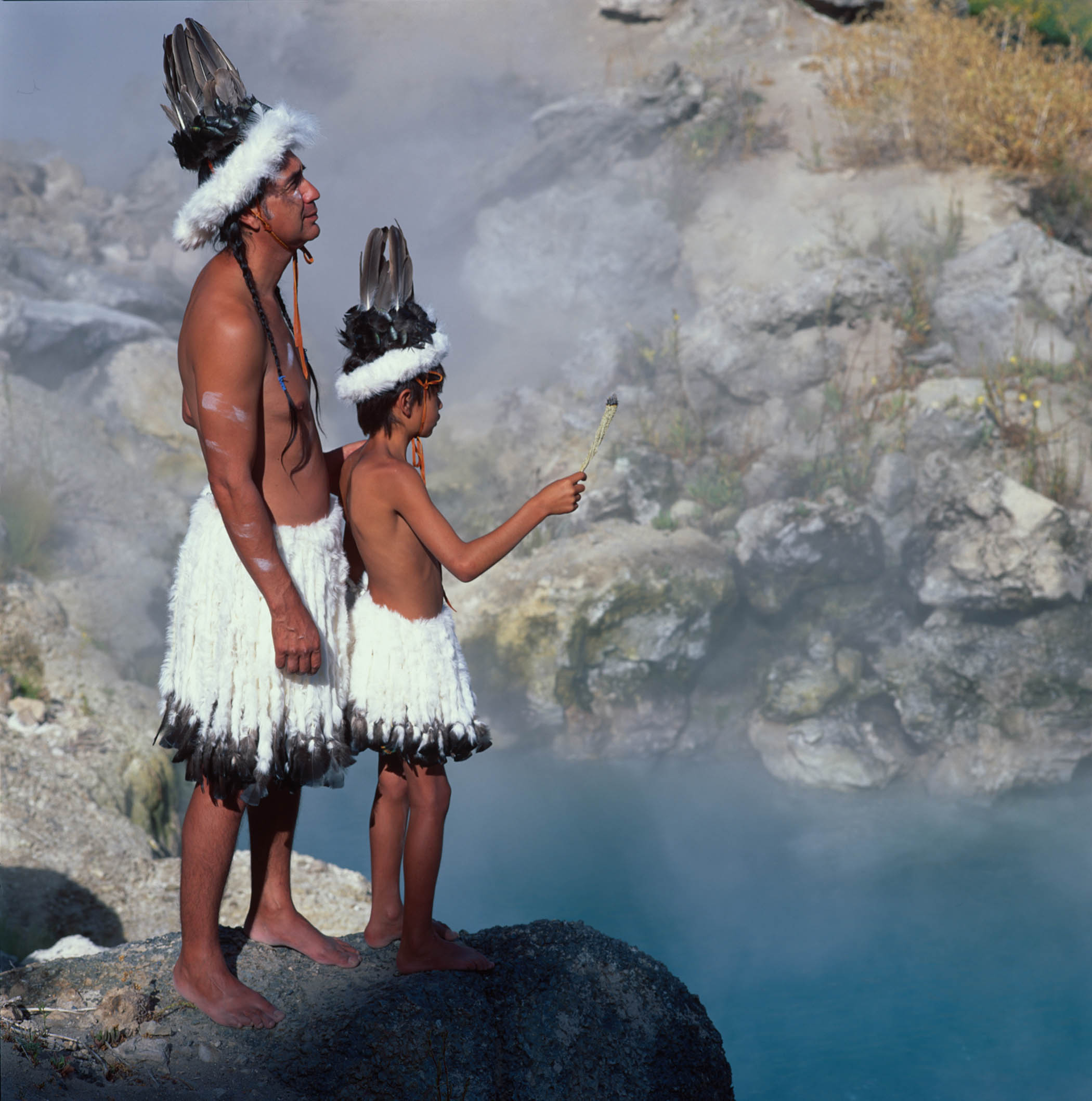USA - Native Americans - Paiute - Shoshone - ceremony at the hot creek - Paul Chavez and his son