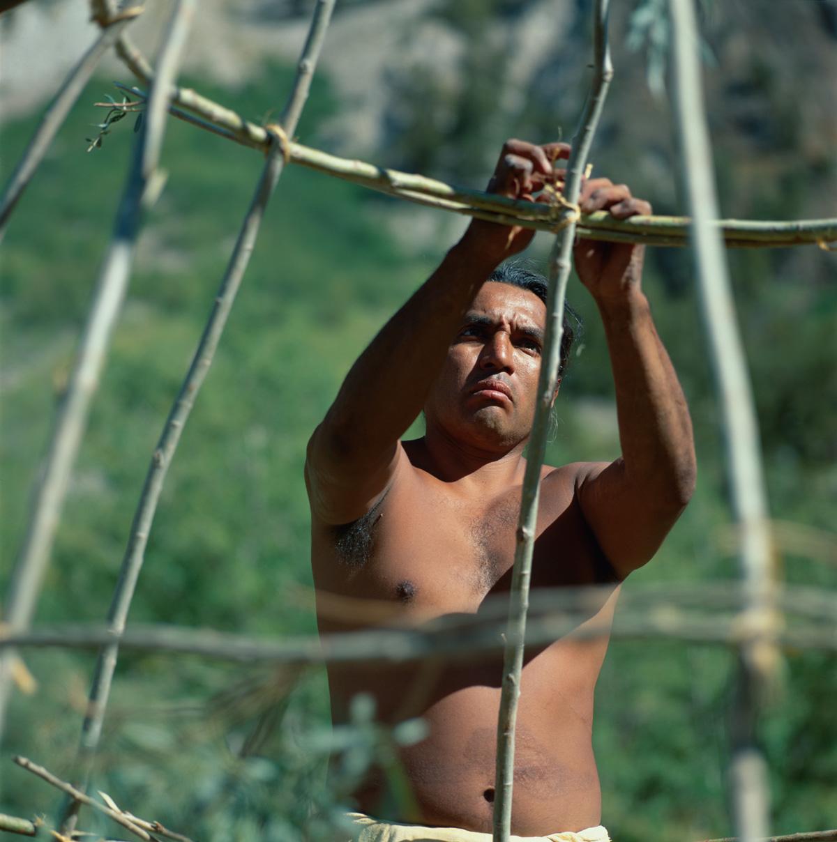 Indianer Nordamerikas - Paiute - Shoshone -Mann baut eine traditionelle Hütte, das sogenannte
