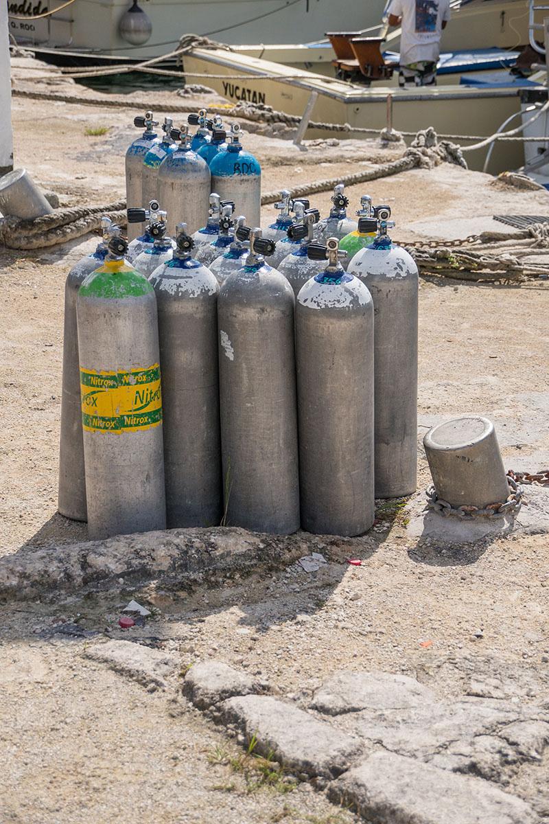 Mexico, Cozumel, Hafen, Port, Tauchflaschen, Tanks