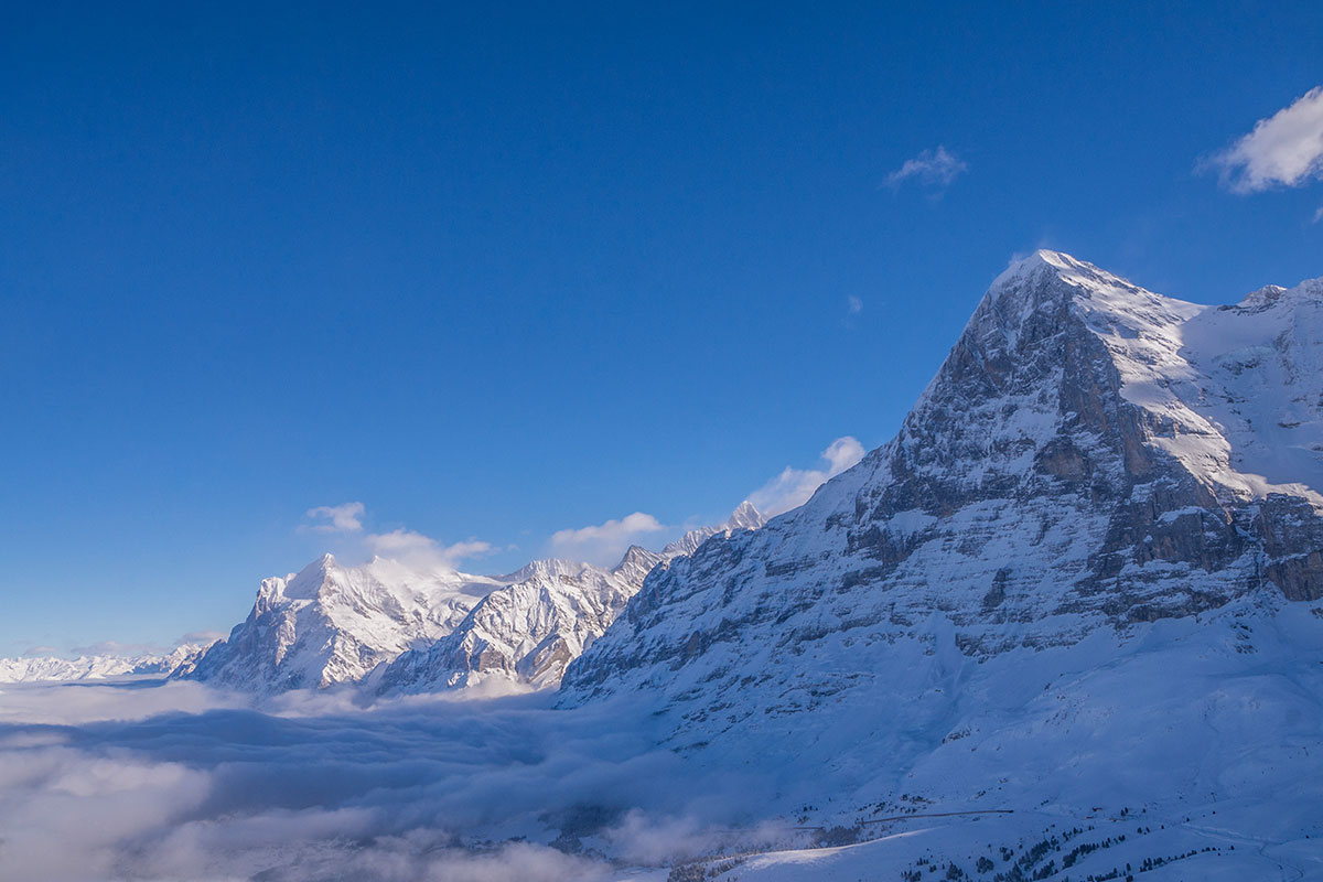 Eiger north face in Winter in from Lauberhorn