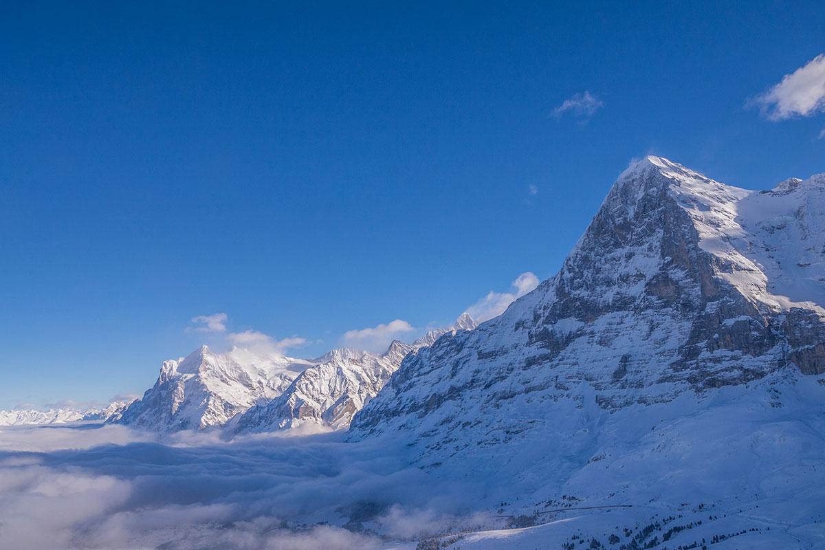 Eiger Nordwand im Winter vom Lauberhorn aus