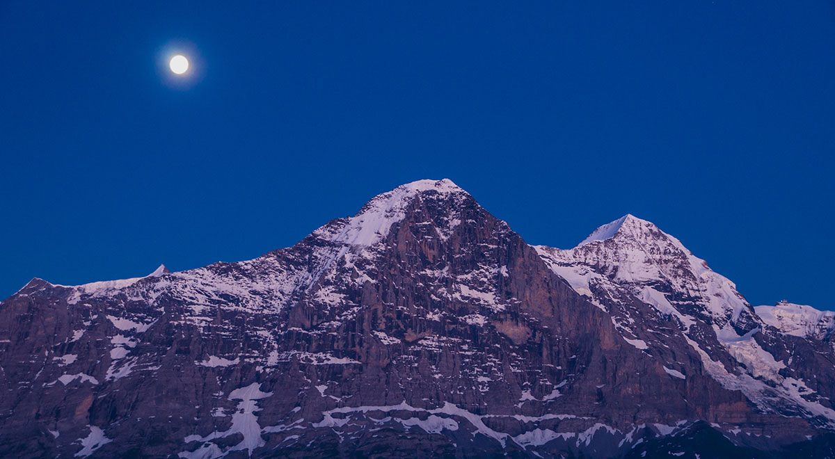 Eiger north face at night