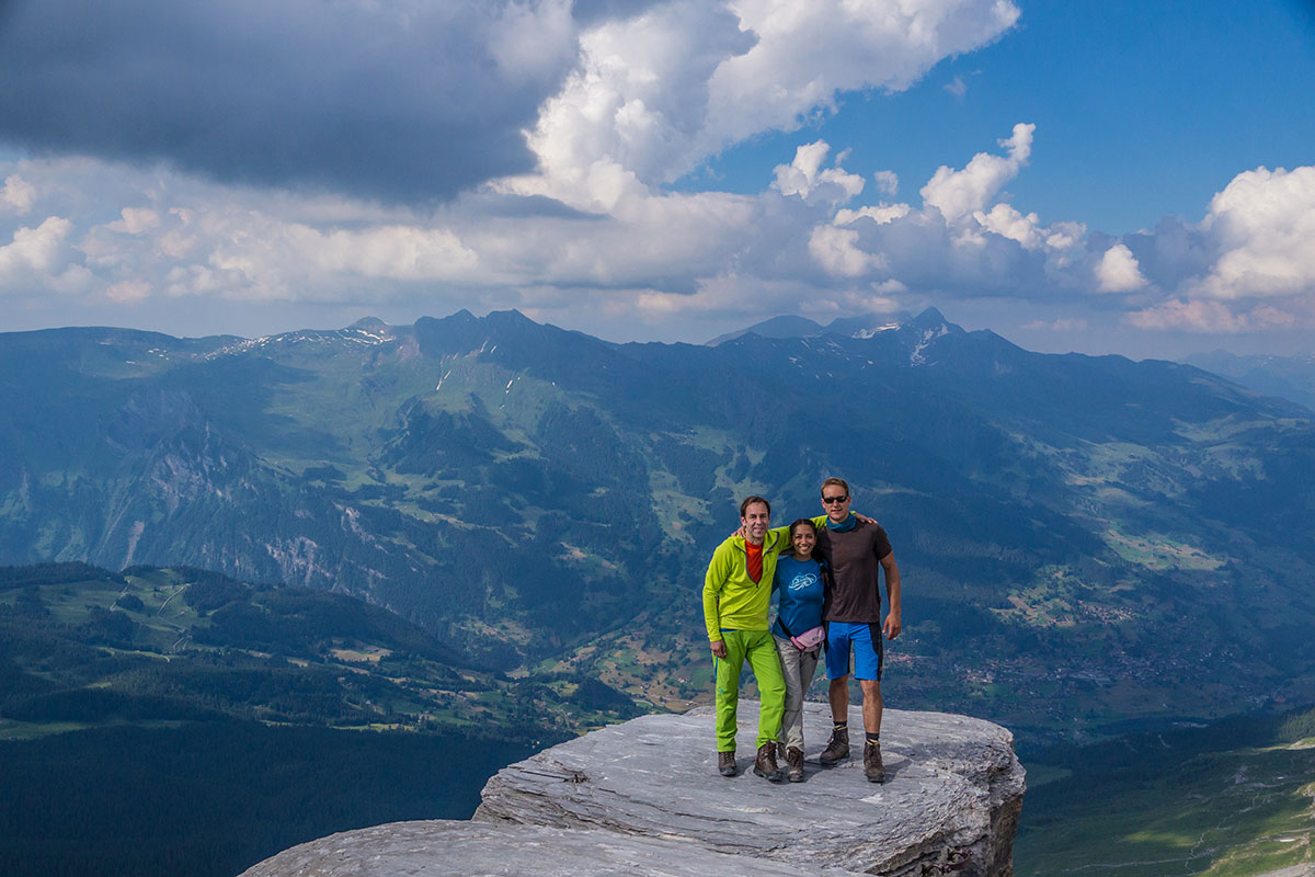 Mathias Weck, Tweet Orlanes-Weck and Felix Mehne at the peak of Rotstock in front of Eiger north face