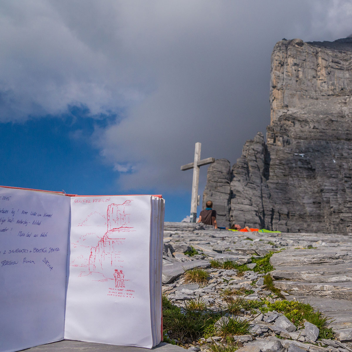 View from Rotstock to Eiger north face with logbook