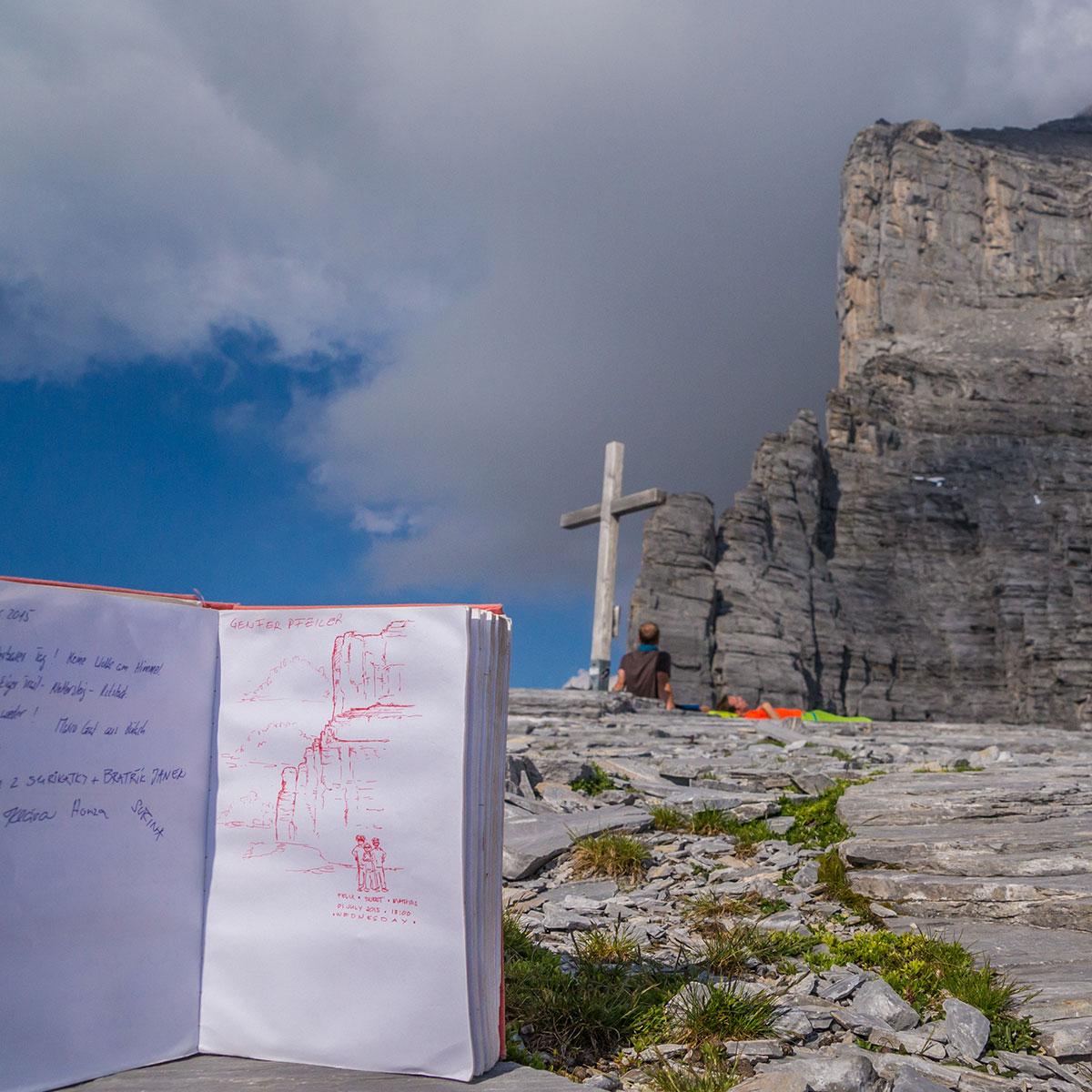 Blick vom Rotstock zur Eiger Nordwand mit Gipfelbuch