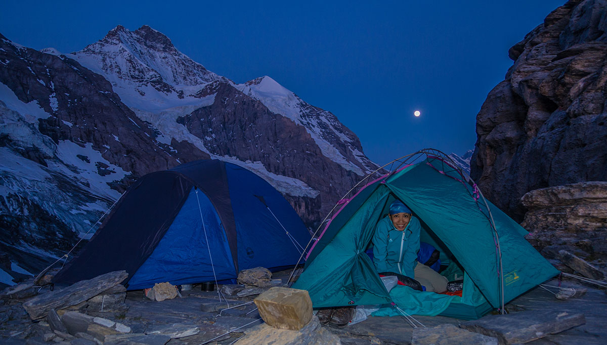 Bivouac at Rotstock in front of Eiger north face - sunrise
