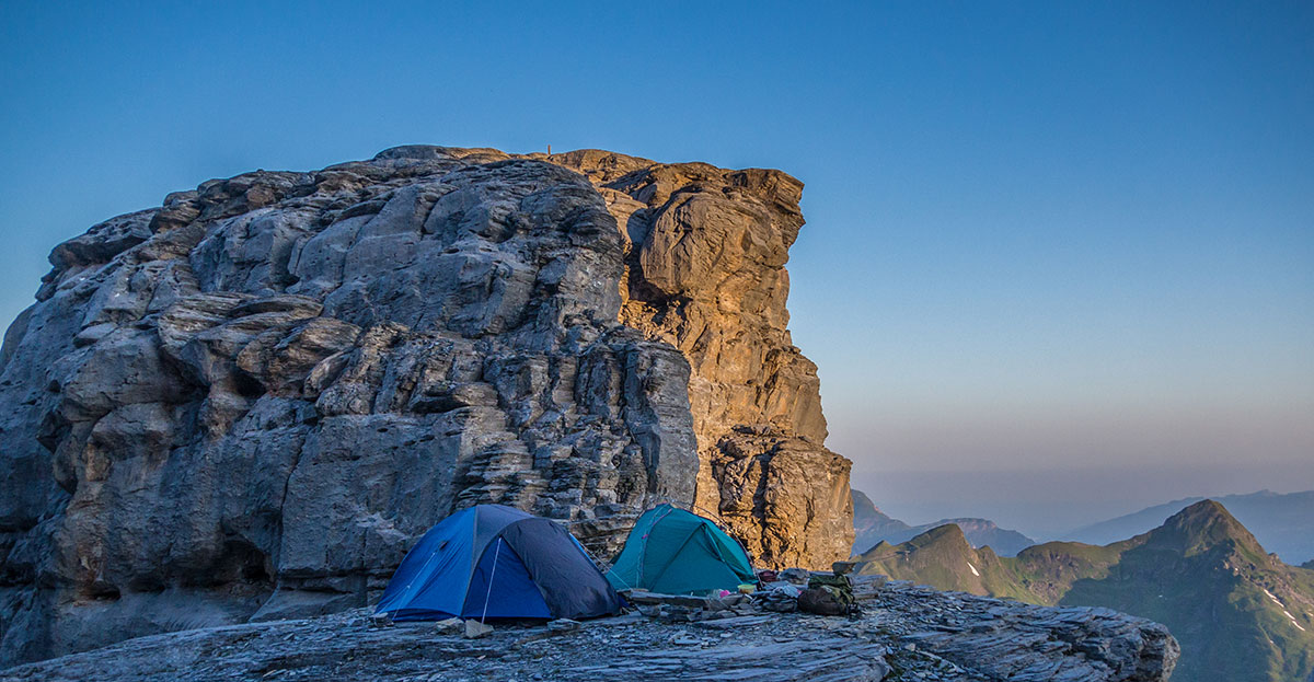 Bivouac at Rotstock in front of Eiger north face