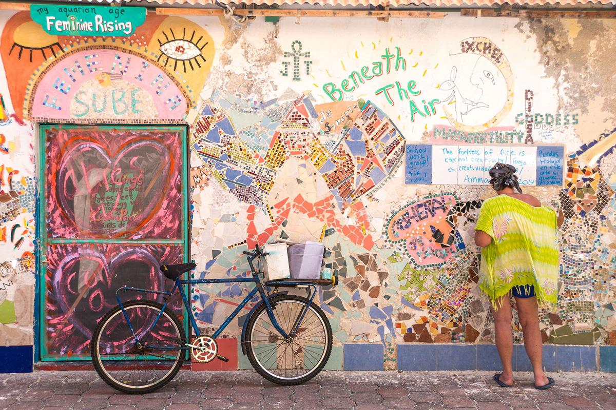 Mexico, Isla Mujeres, Wandmalerei