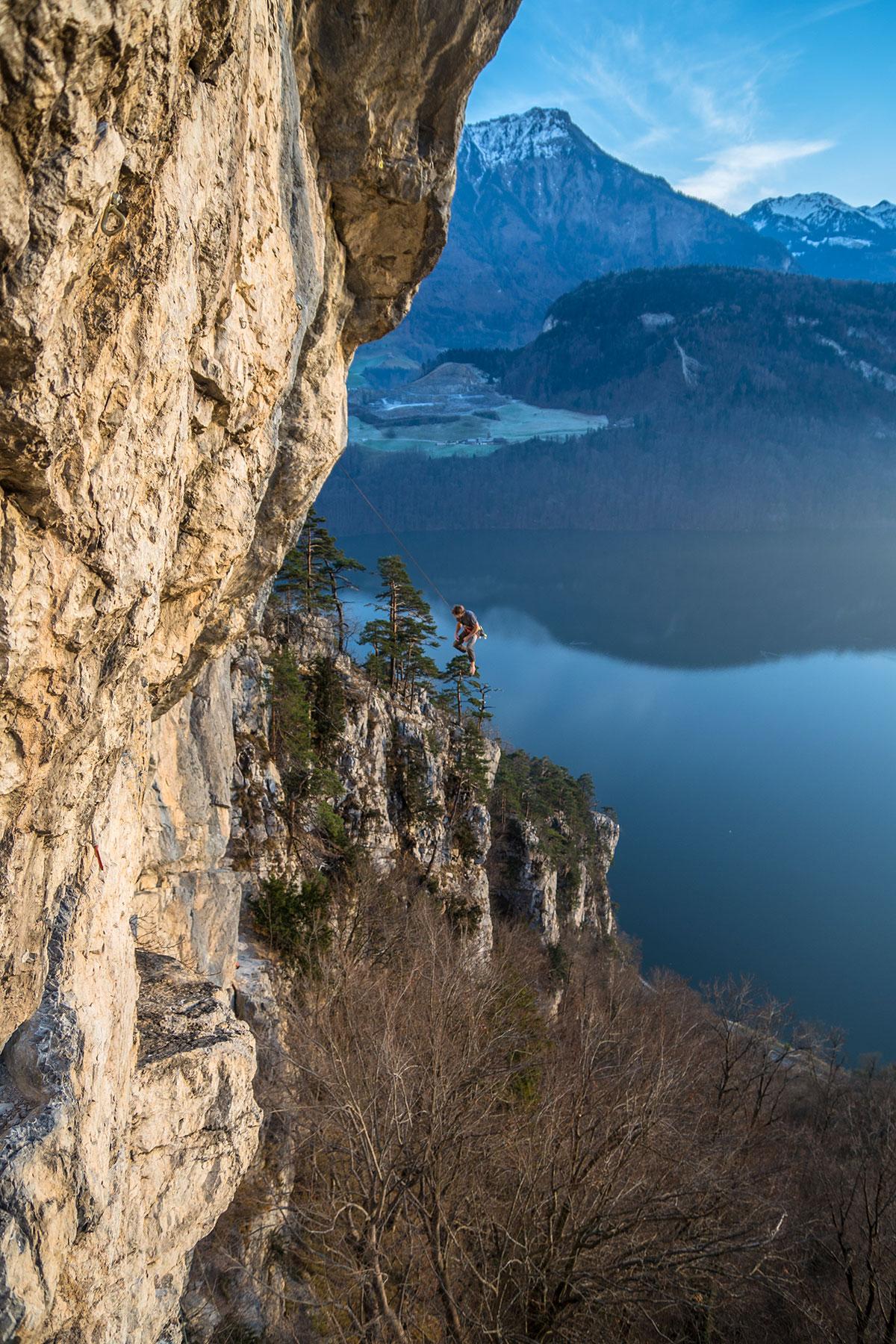Alpnachersee - Kletterer beim Sturz