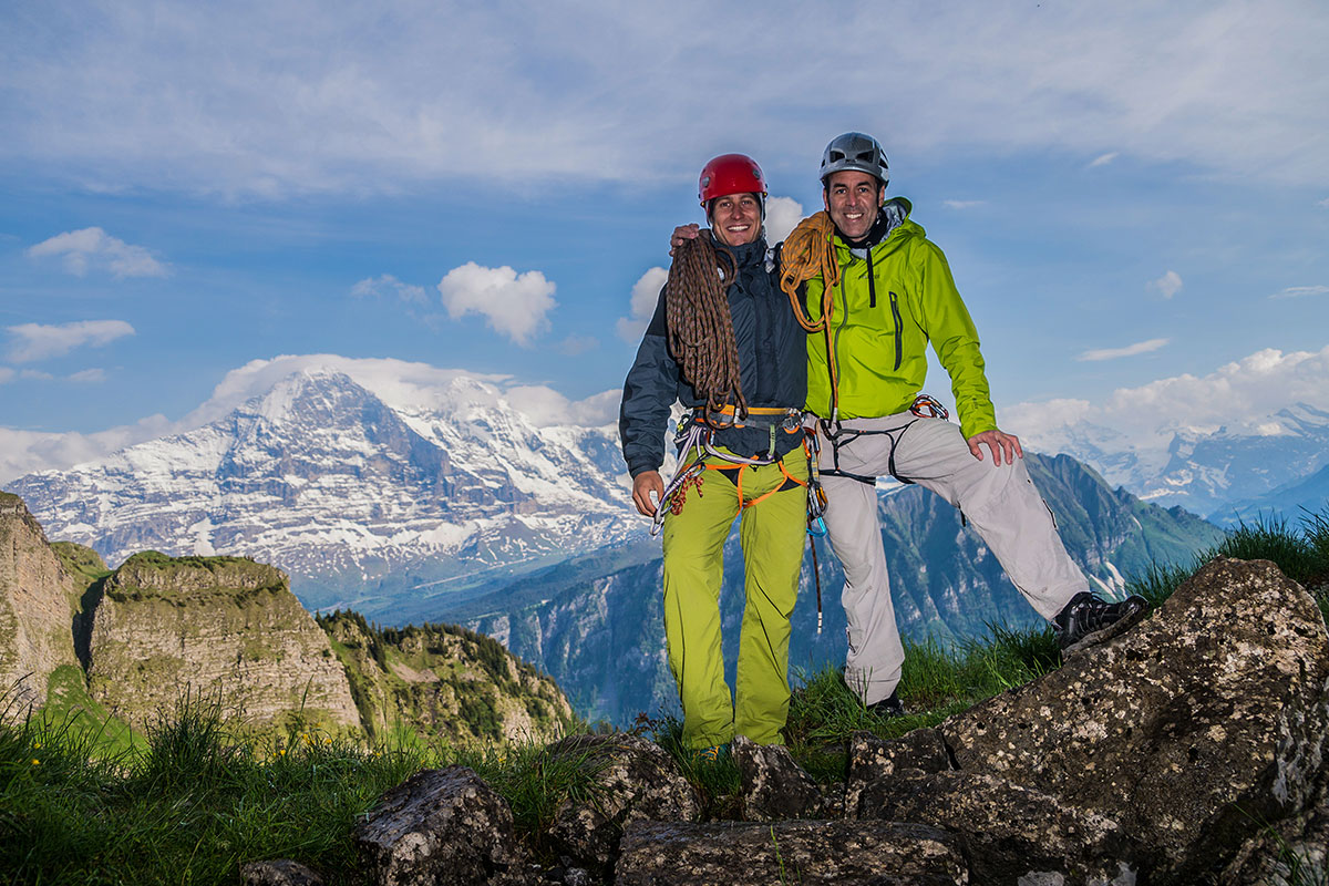 Mathias Weck and Felix Mehne at Hintisberg in front of the Eiger north face