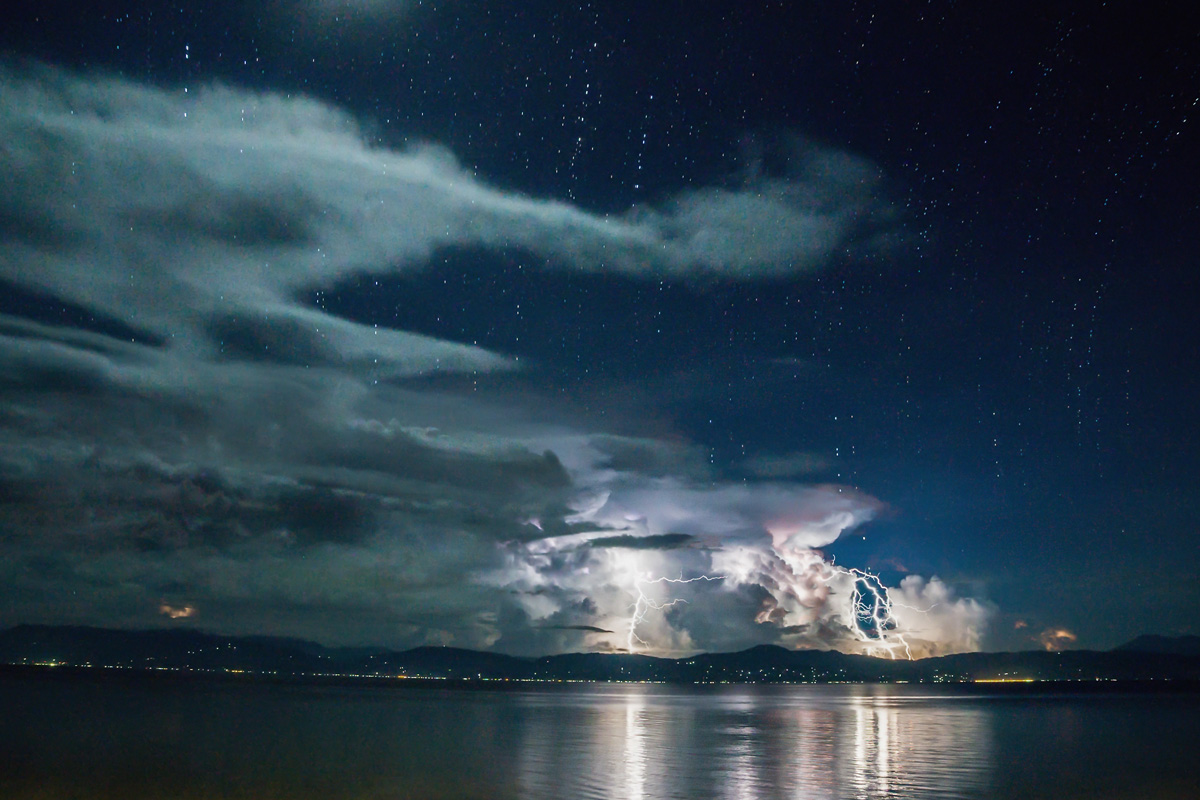 Thunder and Lightning in Moalboal under Starry Sky