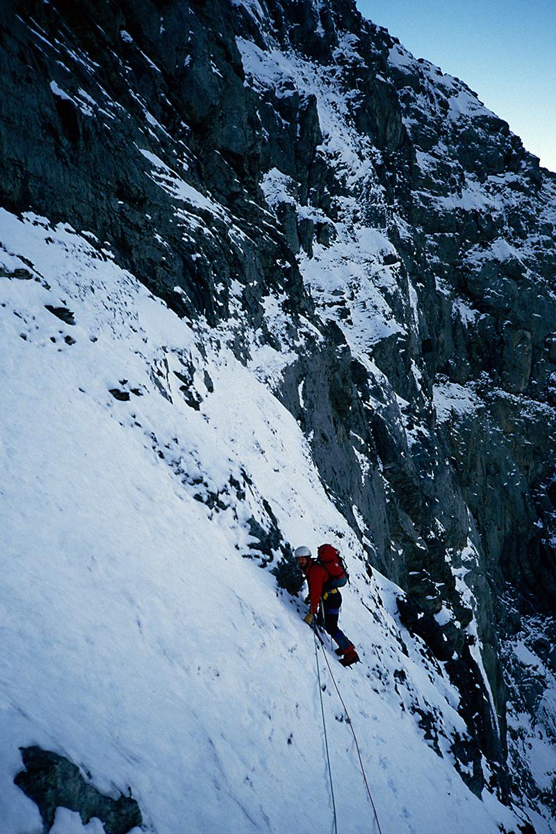 Beginn des Götterquerganges - Eiger Nordwand