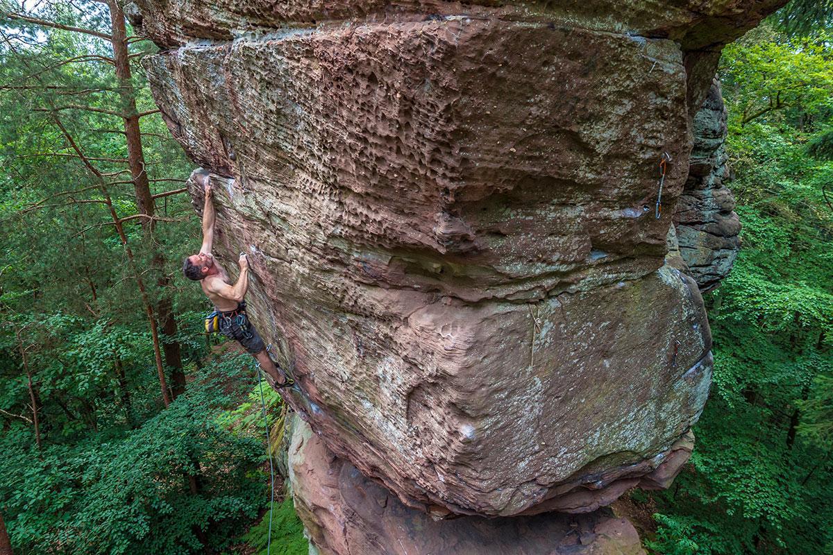 """Pfalz, Buhlsteine, Route: """"???"""", 9-, Climber Rainer Korn"""