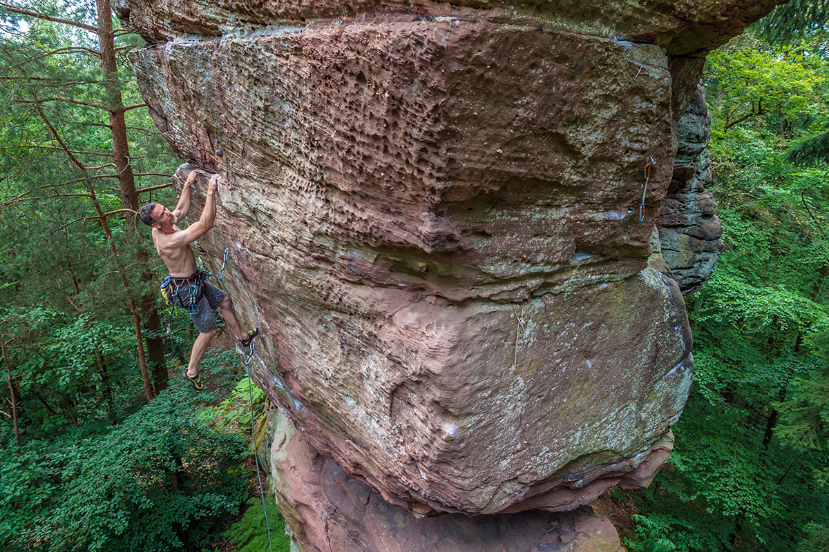 """Pfalz, Buhlsteine, Route: """"???"""", 9-, Kletterer Rainer Korn"""
