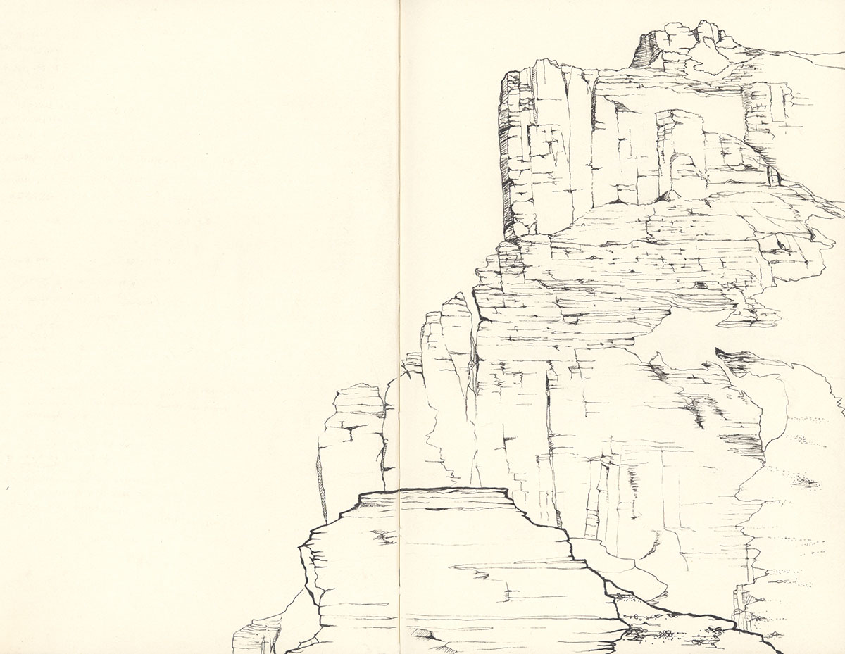 Eiger - Genfer Pfeiler - view from Rotstock - drawing