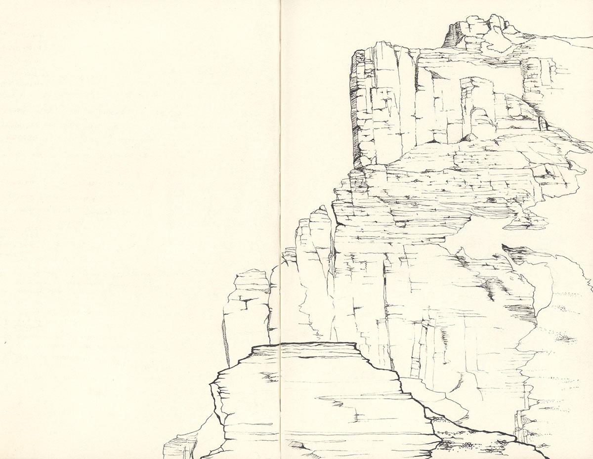 Eiger - Genfer Pfeiler vom Rotstock aus gesehen - Zeichnung