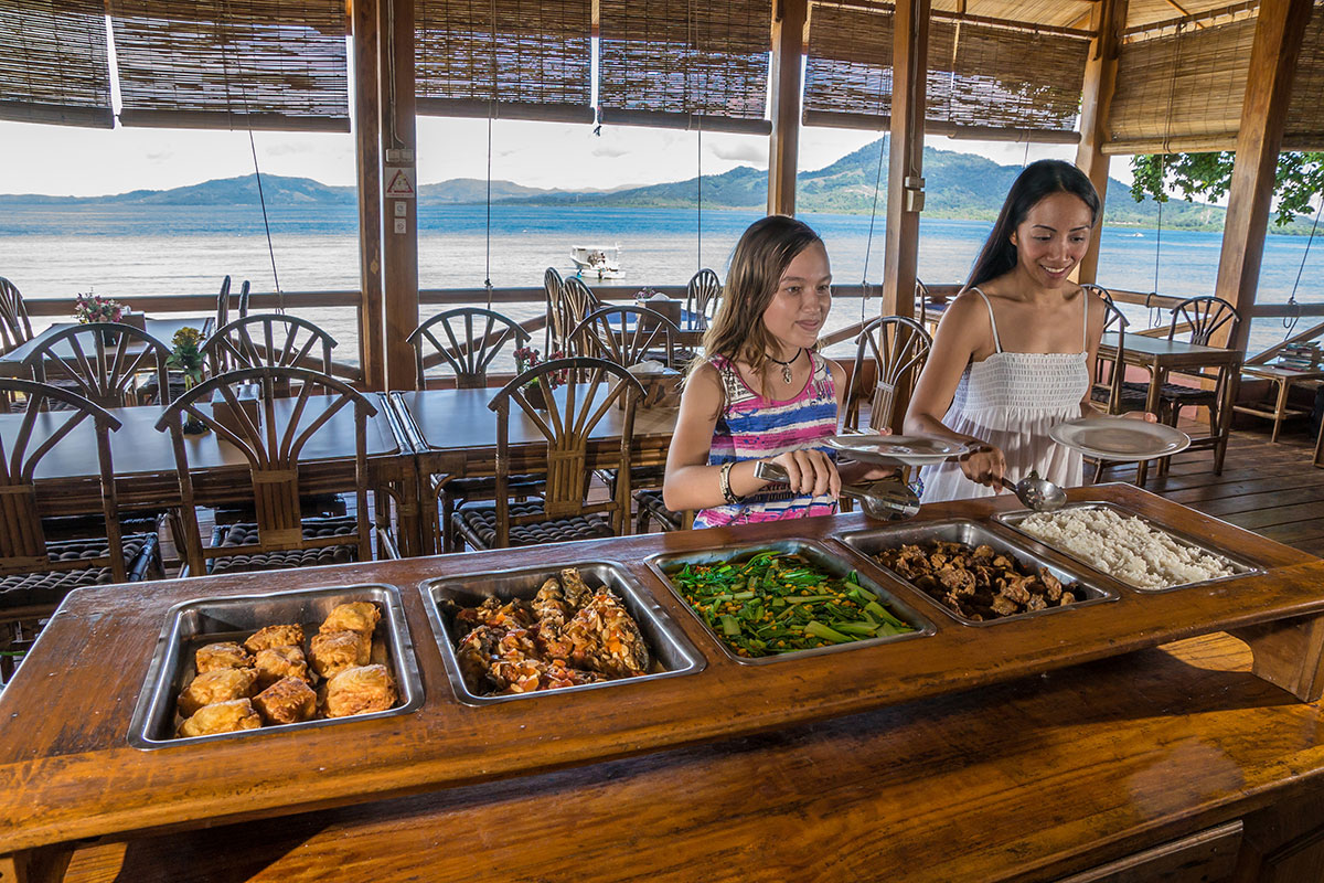 Indonesia, Manado, Bunaken Island, Seabreeze Resort, Restaurant with Food Buffet