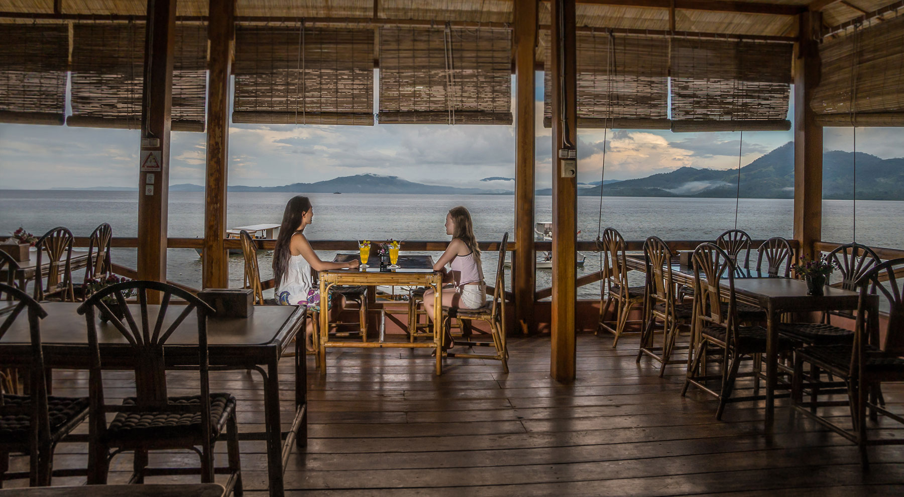 Indonesia, Manado, Bunaken Island, Seabreeze Resort, Restaurant, Cocktails with Bay View