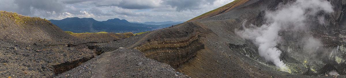 Indonesia, Manado, Lokon Volcano Trekking Tour, view into Crater