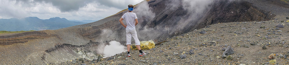 Indonesia, Manado, Lokon Volcano Trekking Tour, view into Crater, sulfur block