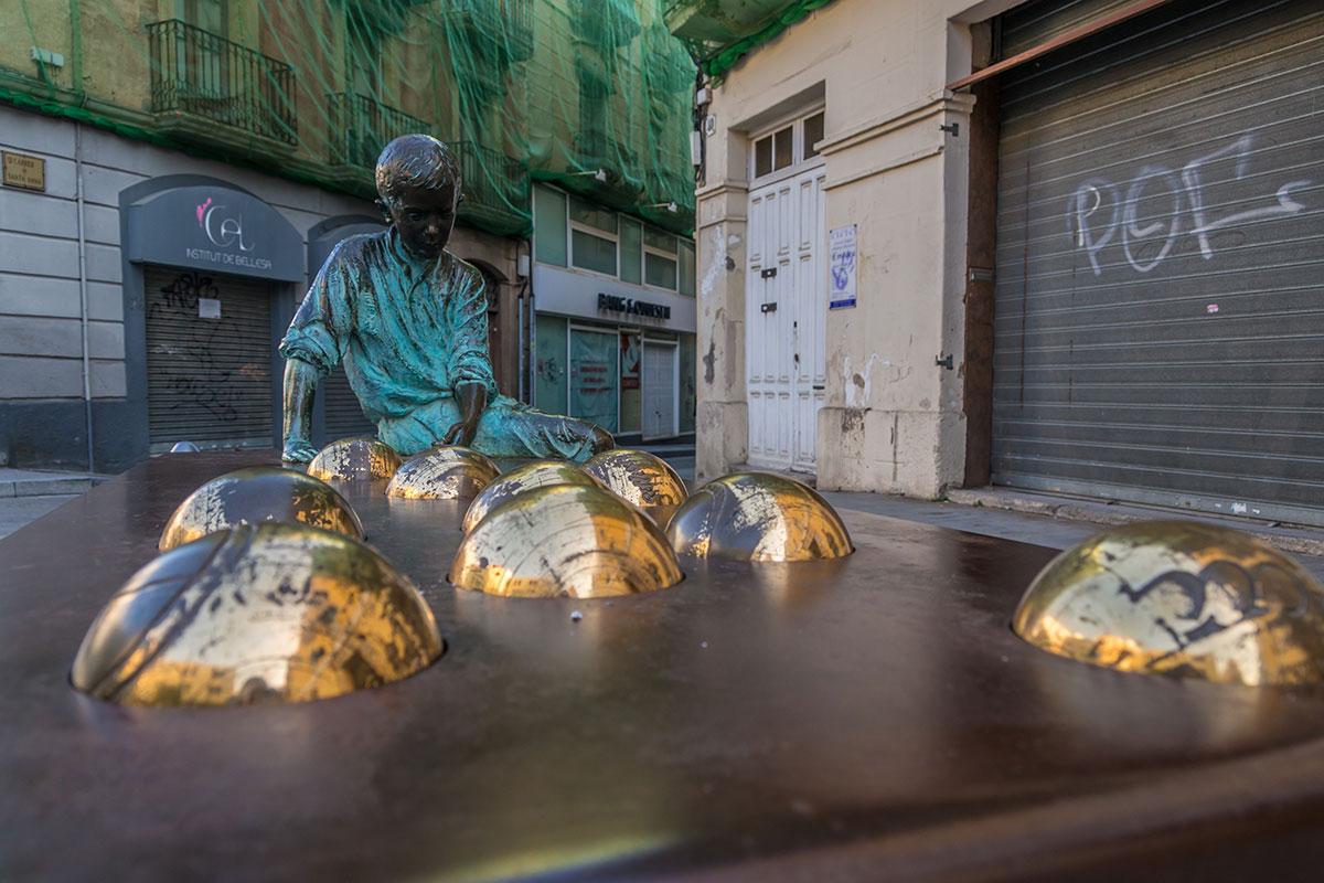 Spain, Catalonia, Reus, Gaudi Memorial Kid Sculpture