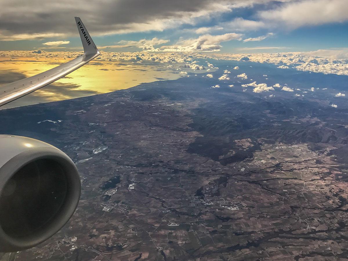 Spanien, Katalonien, Region Tarragona, Blick aus dem Flugzeug