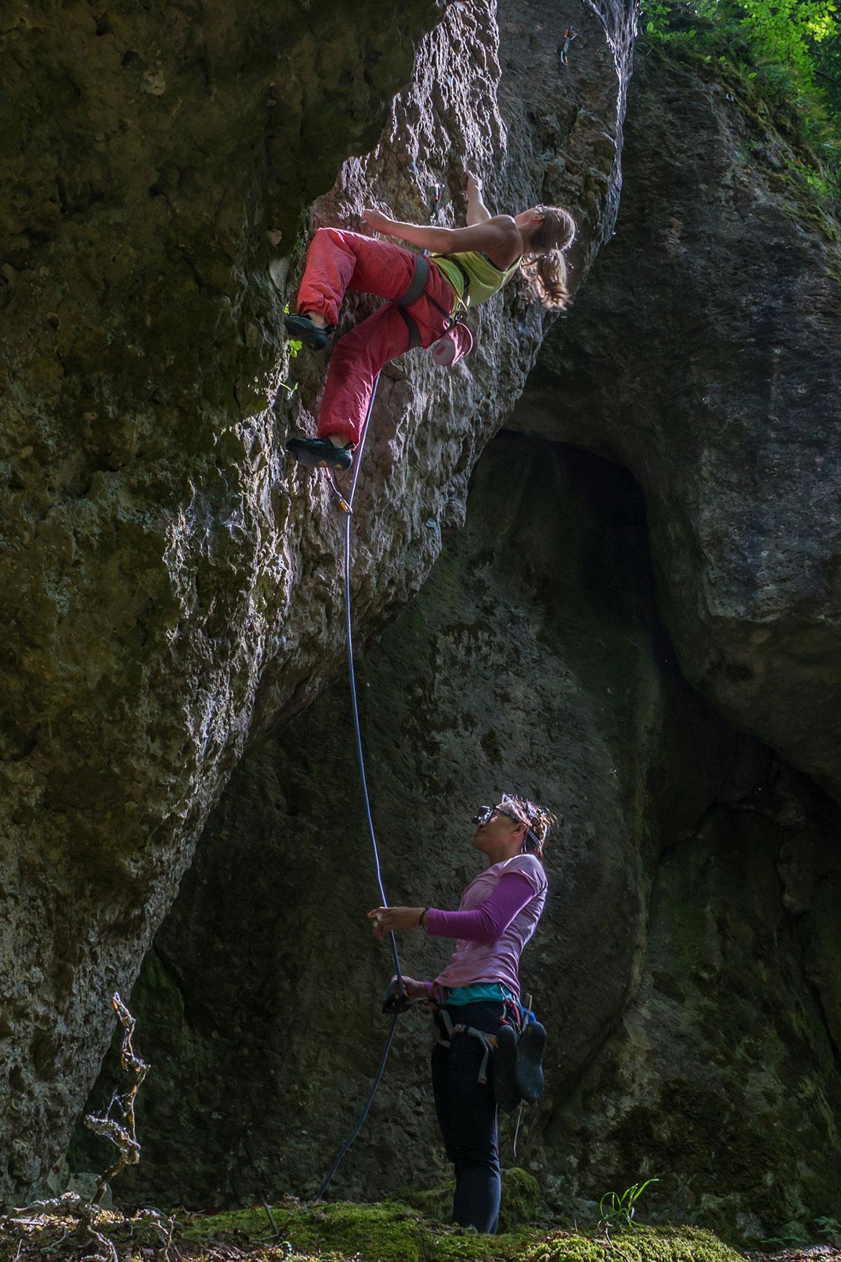 Frankenjura, Kanzelfels, Ela, 7+, Kletterer Kerstin Höch