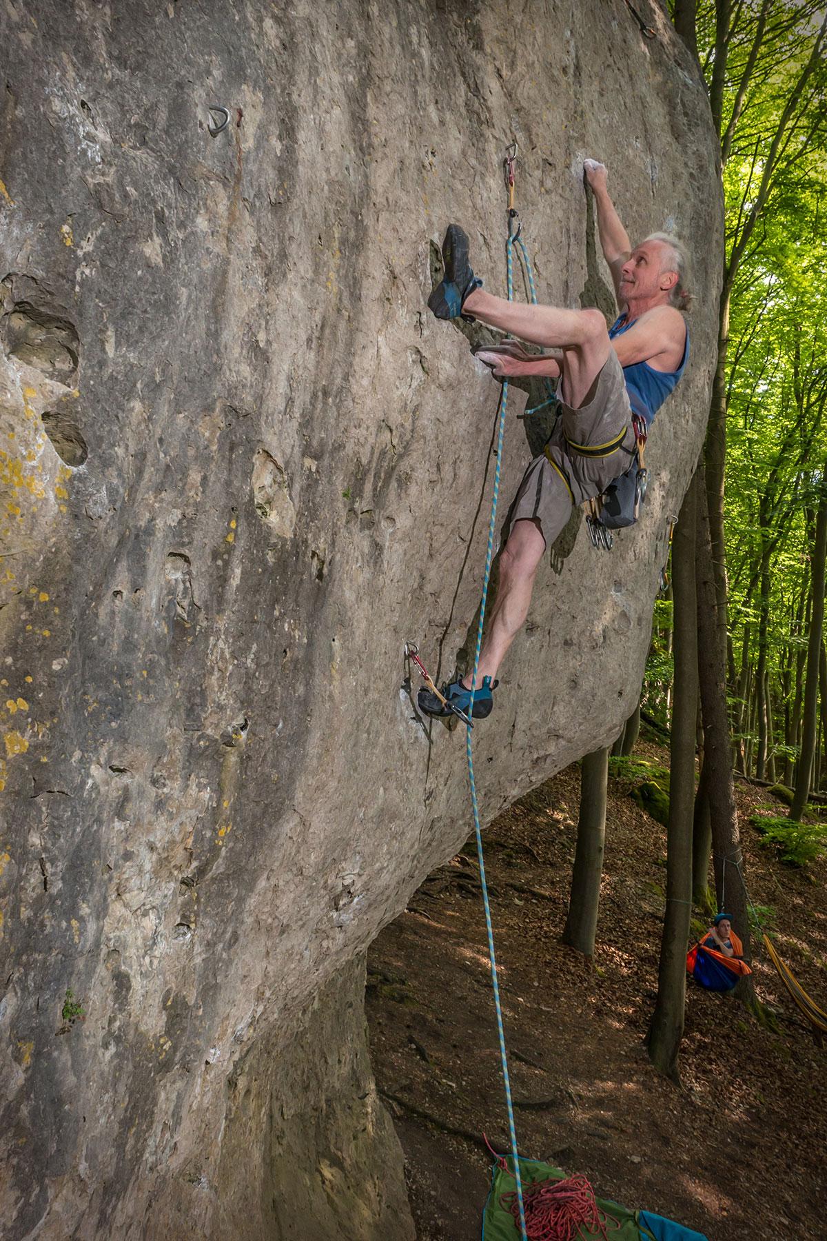 Frankenjura, Oberngruber-Wand, Monsun, 8+/9-, Kletterer Milan Sykora