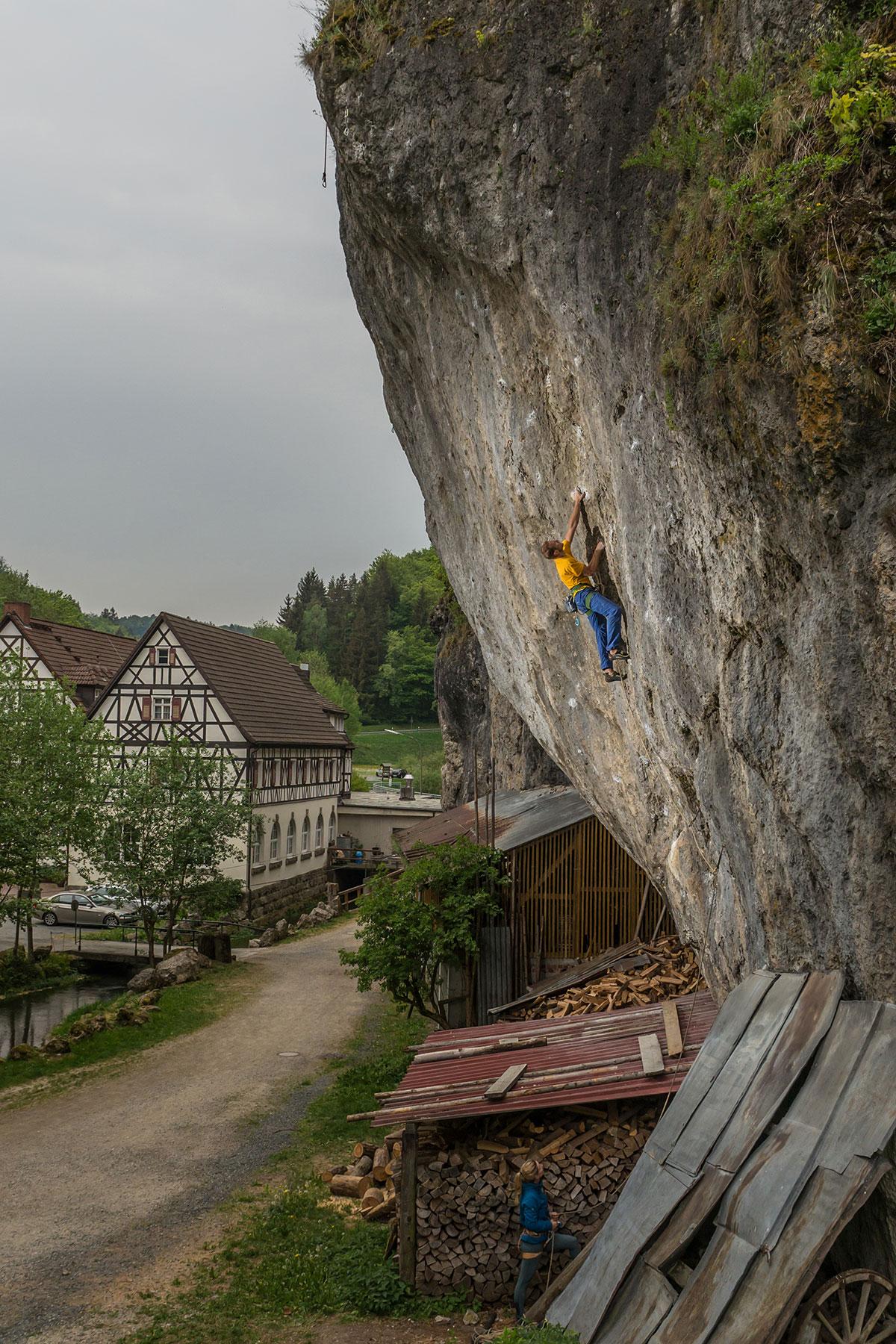 Frankenjura, Weihersmuehler-Wand, 9, Kletterer Felix Mehne