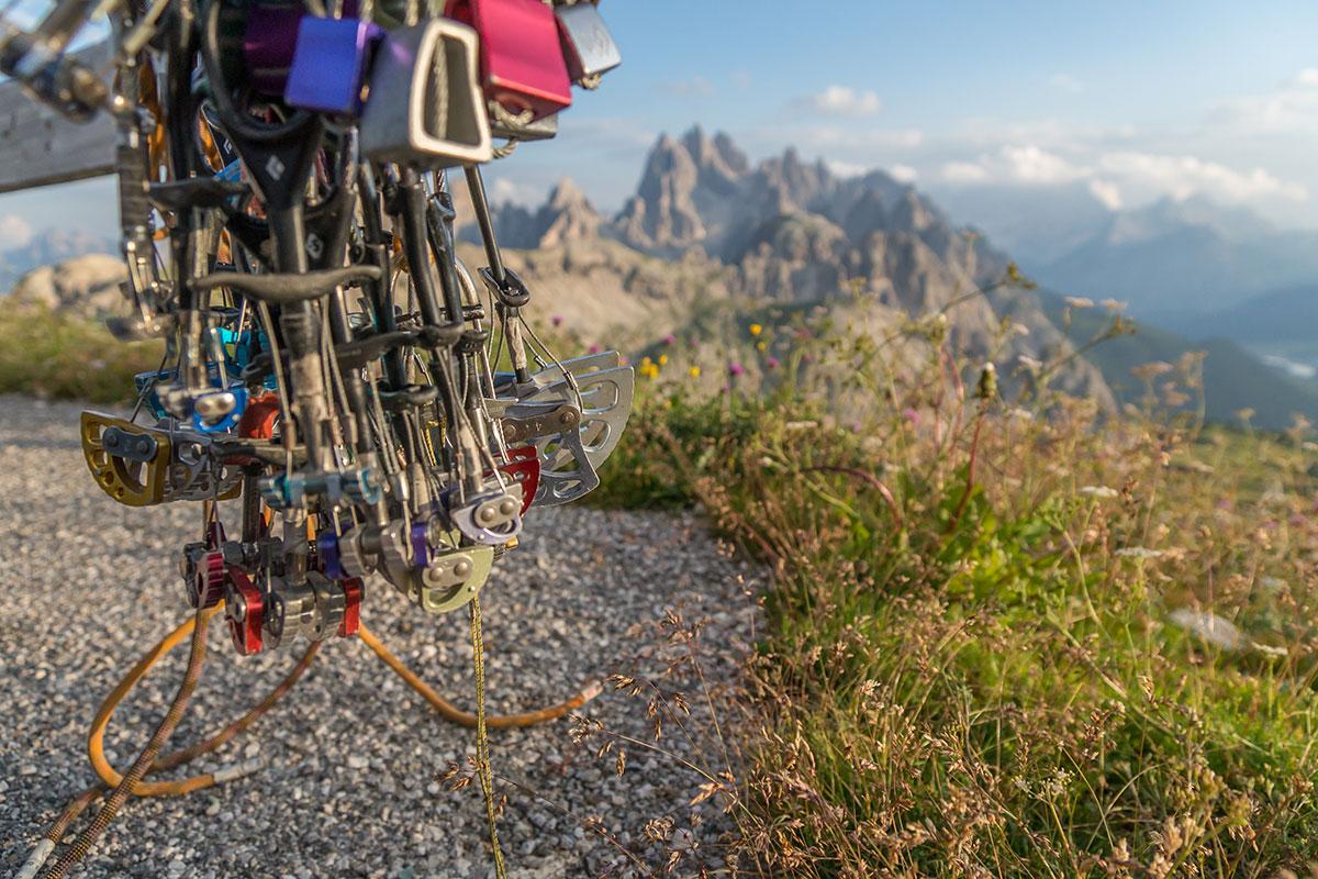 Drei Zinnen, Kletterausrüstung, Blick zum M. Campedelle
