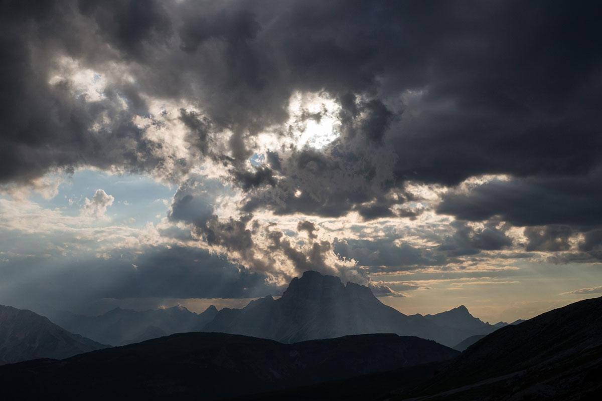 Blick von der Auronzo Hütte zum M. Cristallo