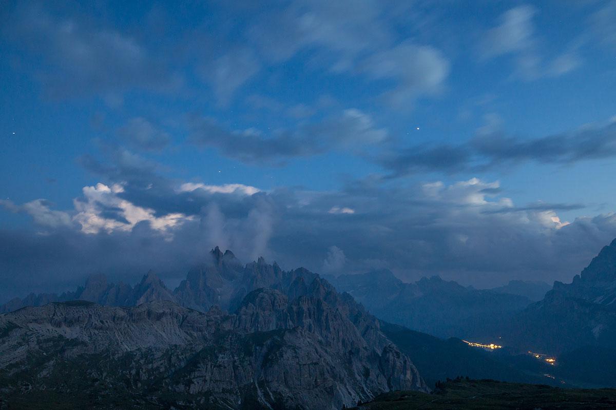 Blick von der Auronzo Hütte zu den Cardinispitzen, Nachts