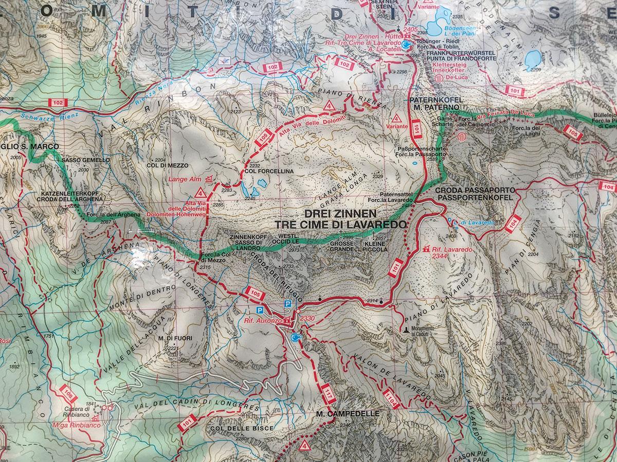 Die Drei Zinnen, Tre Cime Di Lavaredo, Kartenausschnitt