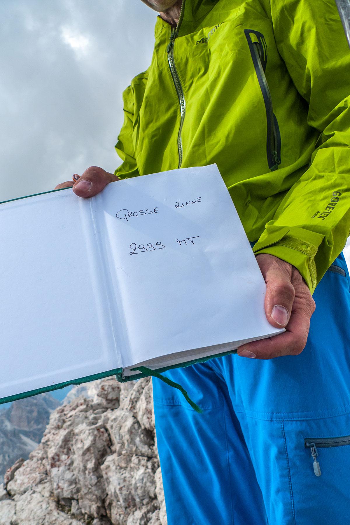 Dolomiten, Gipfelbuch Grosse Zinne