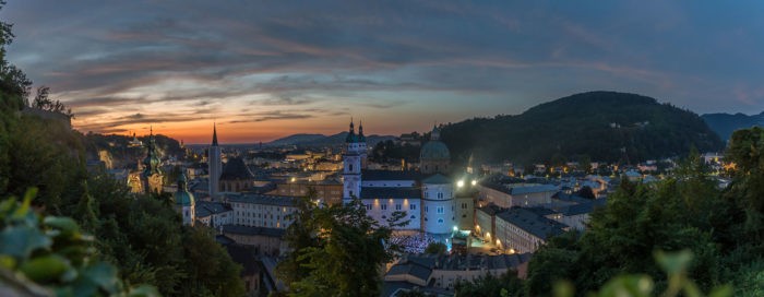 Salzburg, view on the cathedral at sunset