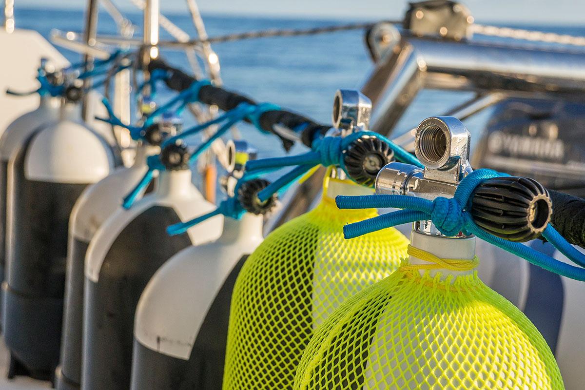 Azoren, Segeln auf der Saildive, Tauchflaschen