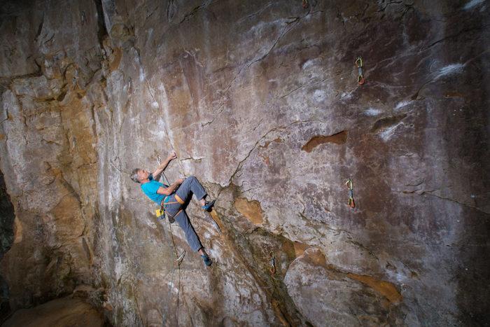 """Bodensteiner Steinbruch, Route """"Honigfrosch"""", 9, Kletterer Stephen Grage"""