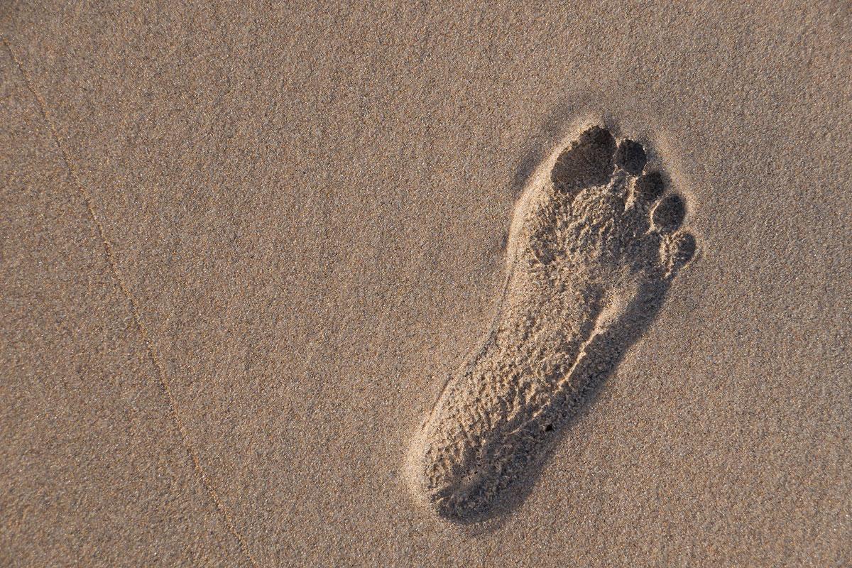 Praia Grande do Guincho, Fußabdruck von Mensch