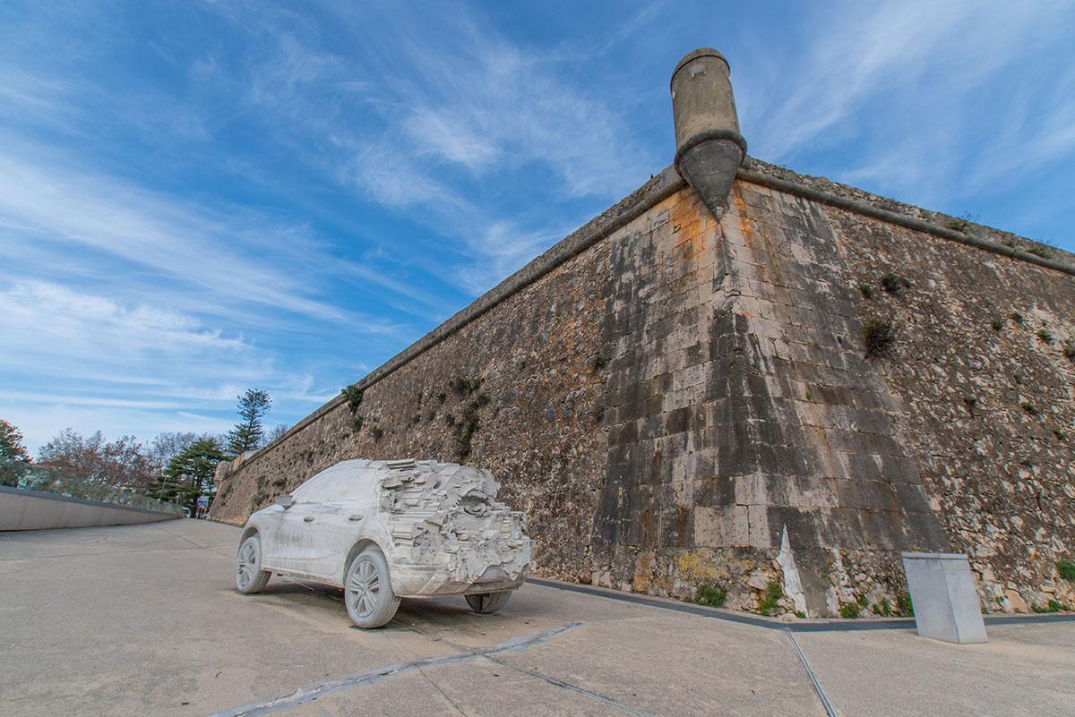 Portugal, Cascais, Fortress Nossa Senhora da Luz de Cascais, Auto Skulptur